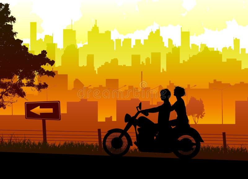 Le coppie viaggiano con il motociclo illustrazione vettoriale