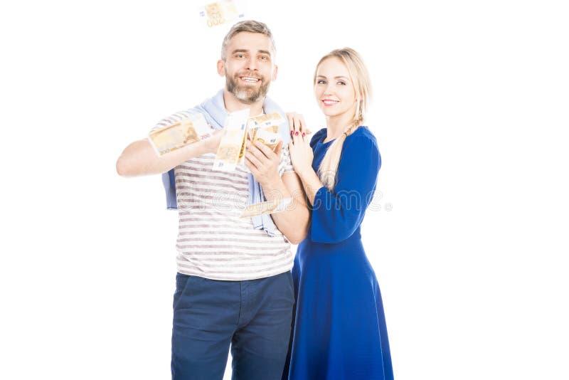 Le coppie vincono la lotteria immagini stock