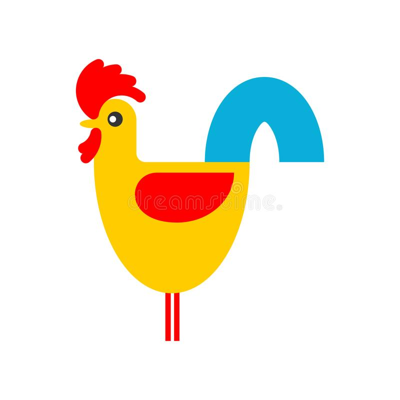 Le coq a isolé coq de ferme d'oiseau Illustration de vecteur illustration libre de droits