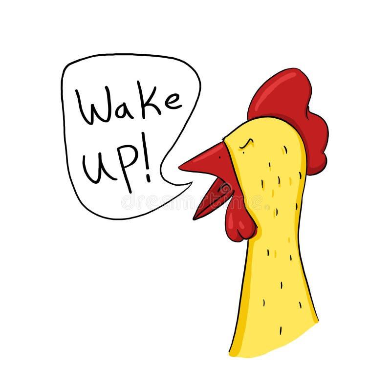 Le coq réveillent l'illustration d'appel illustration de vecteur
