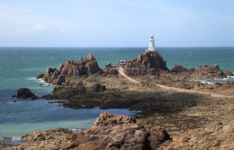 Le Corbiere Lighthouse,泽西 图库摄影