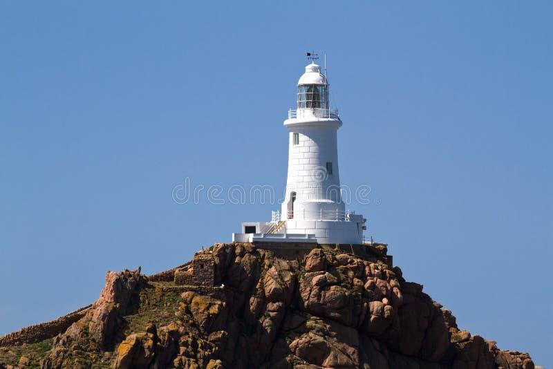 Le Corbiere Lighthouse, Jersey, UK stock image