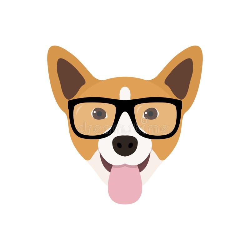 Le corgi poursuit en verres de modes Icône drôle de chien illustration de vecteur