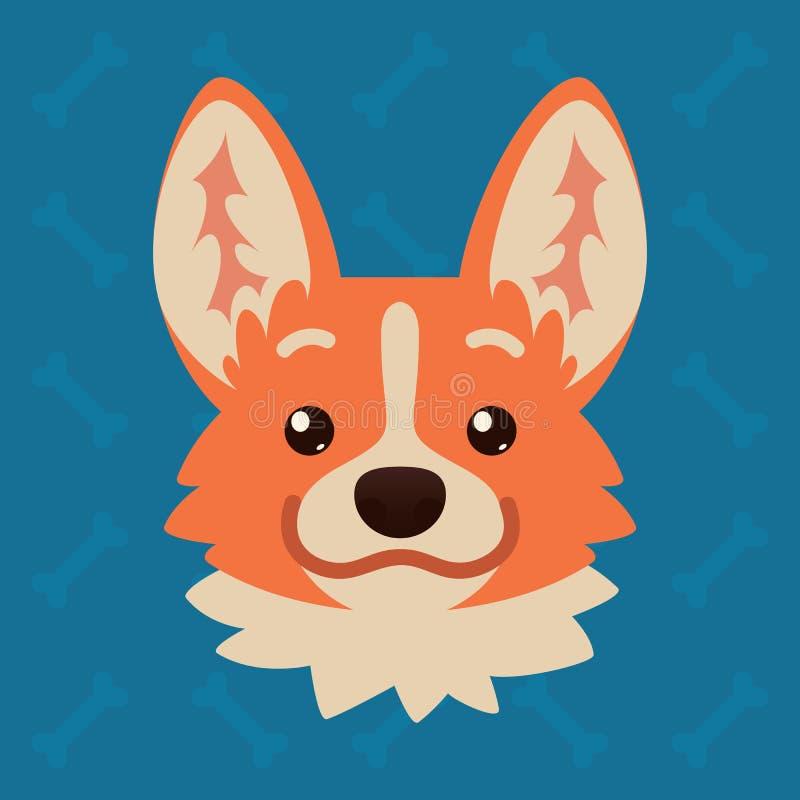 Le corgi poursuit la tête émotive L'illustration de vecteur du chien mignon dans le style plat montre l'émotion positive Sourire  illustration de vecteur