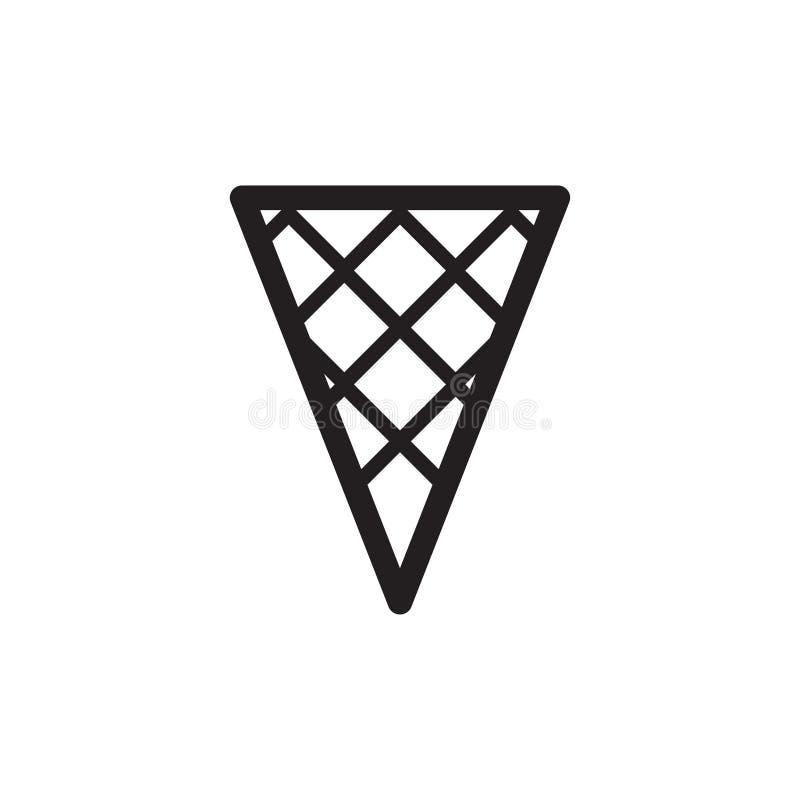 Le cornet de crème glacée simple de gaufrette de noir et de wgite décrivent l'icône signe linéaire de style pour le concept et le illustration de vecteur