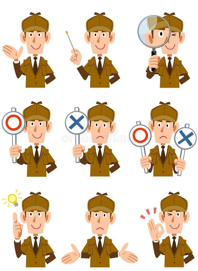 Le corps supérieur des genres masculins du détective 9 d'expressions du visage et de gestes 2 illustration stock