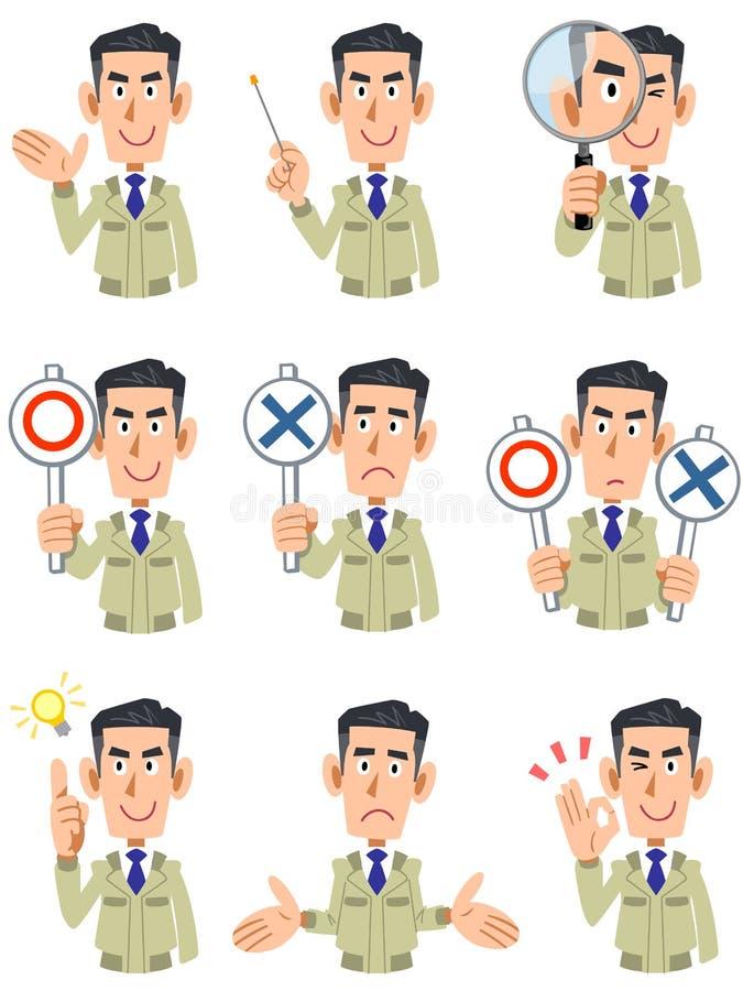 Le corps supérieur des vêtements de travail de port d'homme, de 9 types d'expressions du visage et des gestes 2 illustration libre de droits