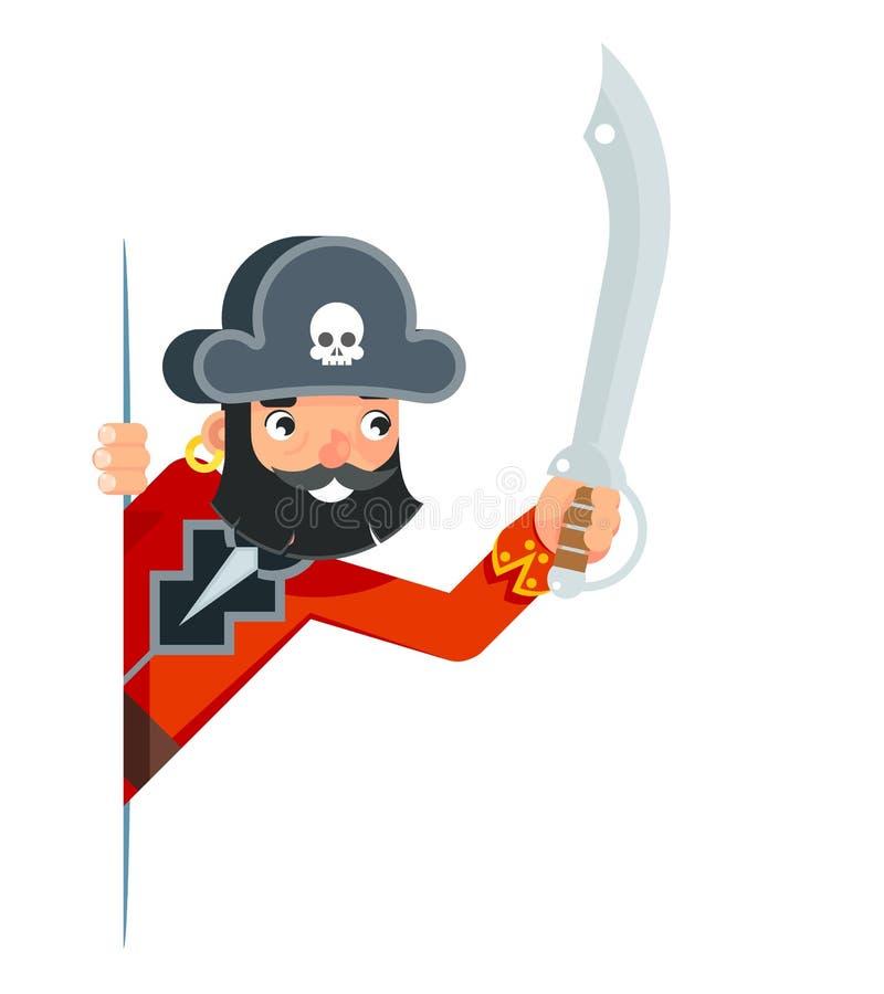 Le corsaire d'obstruction parlementaire de boucanier de pirate de roussette d'épée de sabre regardent le vecteur plat de concepti illustration de vecteur