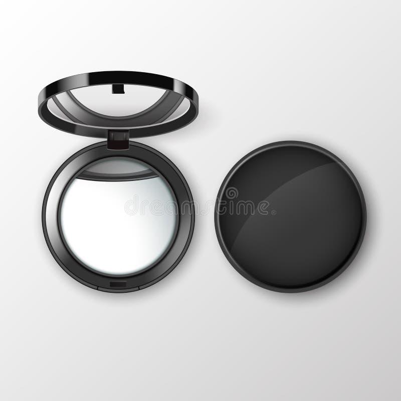 Le cosmétique rond noir de poche de vecteur composent le petit miroir sur le fond illustration stock