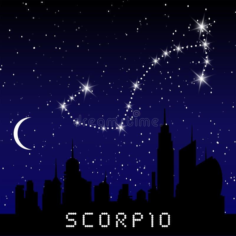 Le costellazioni dello zodiaco di scorpione firmano sul bello cielo stellato con la galassia e lo spazio dietro Costellazione di  illustrazione vettoriale