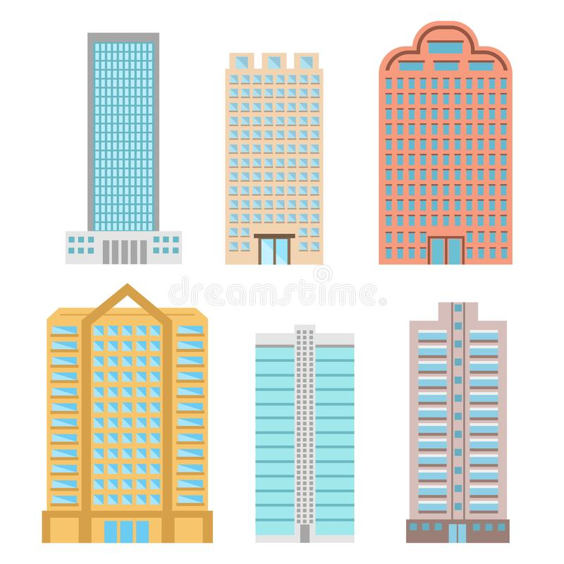 Le costruzioni e la città moderna alloggia le icone piane di vettore, vettore di riserva royalty illustrazione gratis
