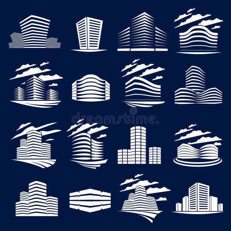 Le costruzioni futuristiche hanno messo, illustratio moderno dell'architettura di vettore illustrazione di stock
