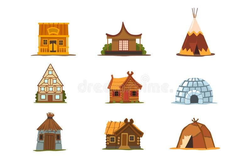 Le costruzioni tradizionali dei paesi differenti hanno messo, case intorno alle illustrazioni di vettore del mondo su un bianco illustrazione vettoriale