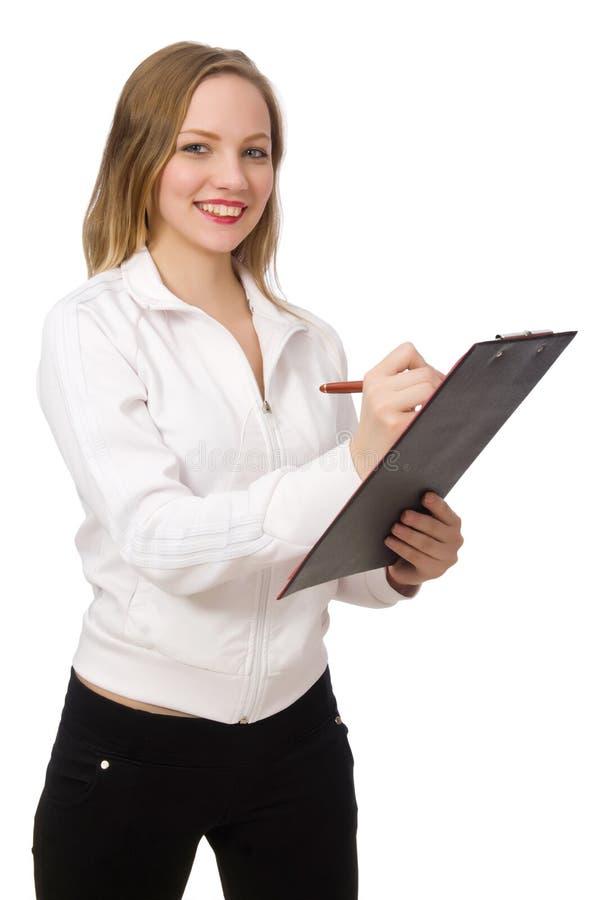 Le costume de port de sports de femme d'isolement sur le blanc photographie stock