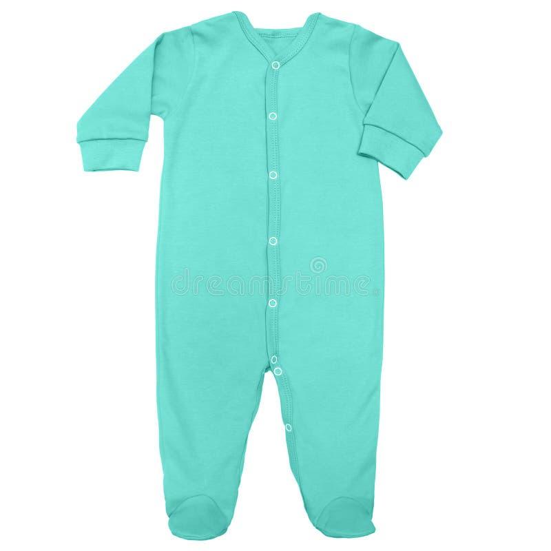 Le costume de sommeil de turquoise pour le bébé avec la longue douille d'isolement sur un fond blanc, raillent  photographie stock libre de droits