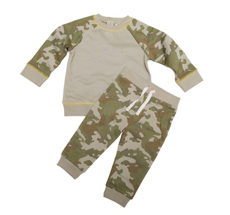 Le costume du ` s d'enfants est militaire Isolat sur le blanc photo libre de droits