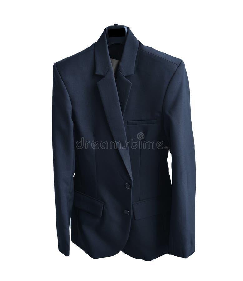 Le costume noir, se ferment vers le haut de la chemise d'isolement sur le fond blanc avec le cli photos libres de droits