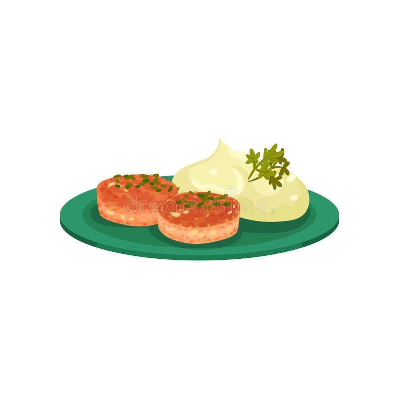 Le cotolette con le purè di patate sono servito su un piatto, illustrazione saporita di vettore del piatto su un fondo bianco illustrazione di stock