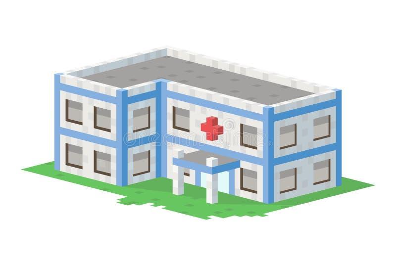 Le cottage plat coloré mignon et la maison d'immobiliers d'art de pixel de village de maison d'hôpital de style conçoivent coloré illustration stock