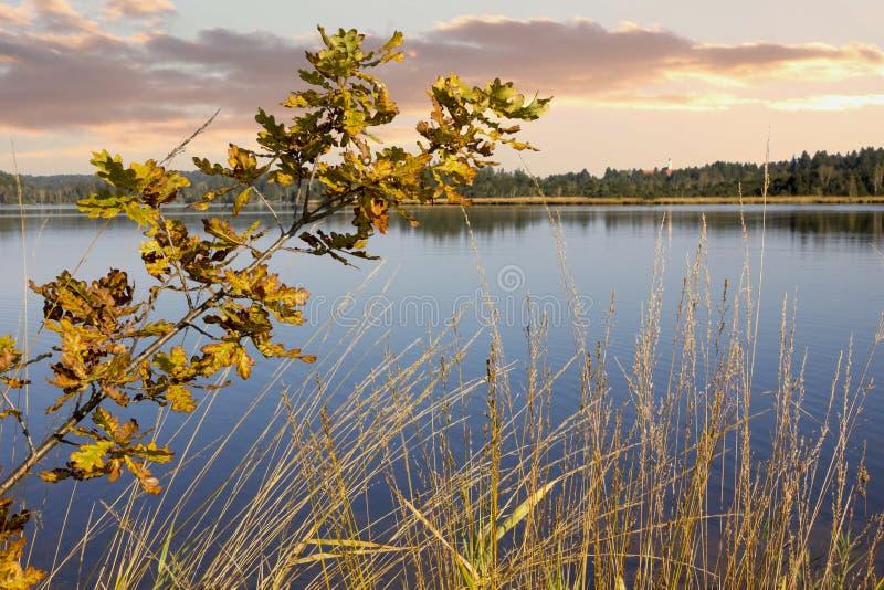Le coucher du soleil à amarrent le kirchsee de lac, Bavière images libres de droits