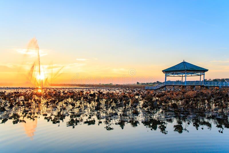 Le coucher du soleil au pavillon sur le lac ou l'étang ou le marais de Bueng voient Fai, Phichit, Thaïlande image libre de droits