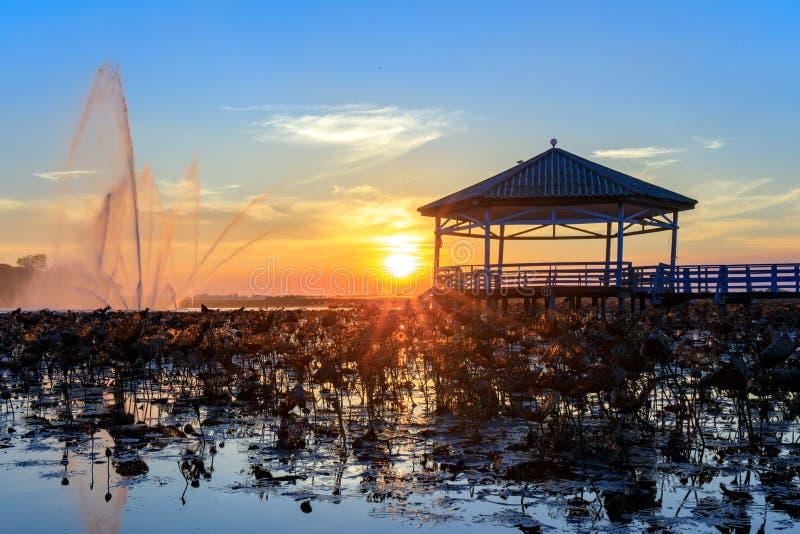 Le coucher du soleil au pavillon sur le lac ou l'étang ou le marais de Bueng voient Fai, Phichit, Thaïlande photos libres de droits