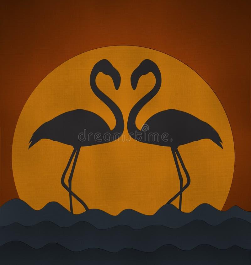 Le coucher du soleil avec le flamant font le soupir de coeur à partir du papier réutilisé illustration stock