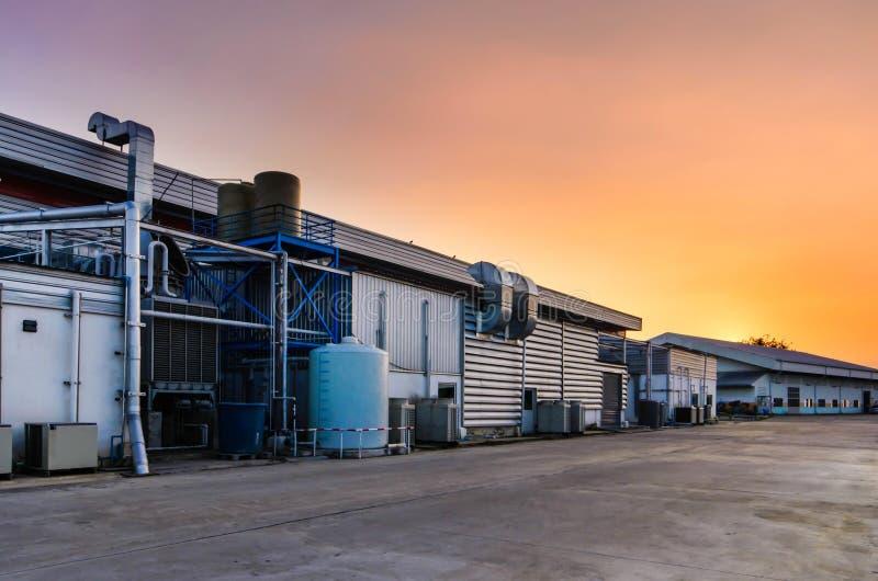 Le coucher du soleil d'usine photo stock