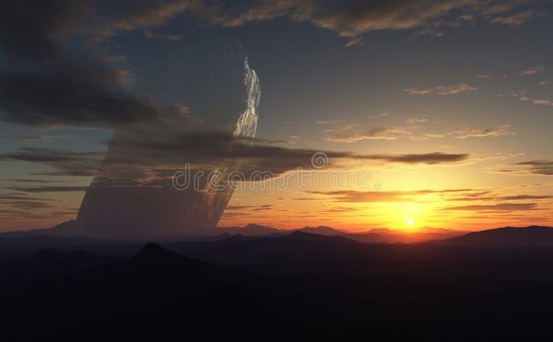 Le coucher du soleil dans la planète et le géant étrangers de 20km a survécu à l'asteroïde à l'arrière-plan illustration de vecteur