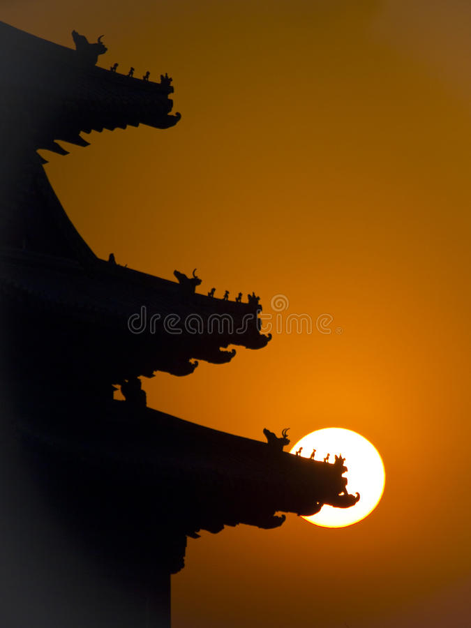 Le coucher du soleil de la ville interdite image libre de droits