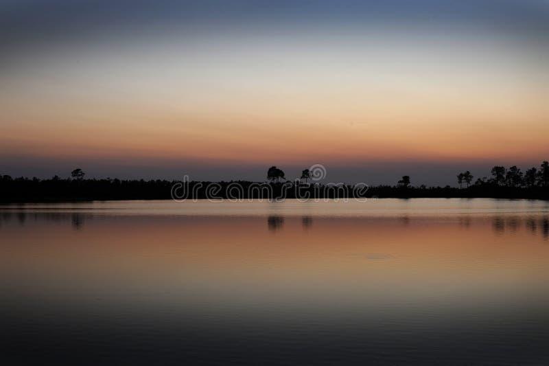 Le coucher du soleil de marais photos stock