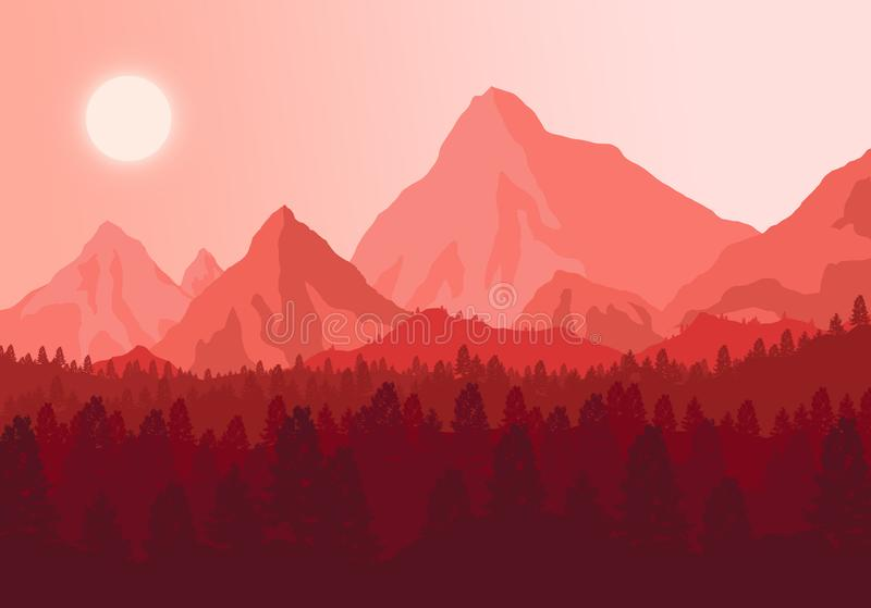 Le coucher du soleil de photo dans les montagnes photos stock