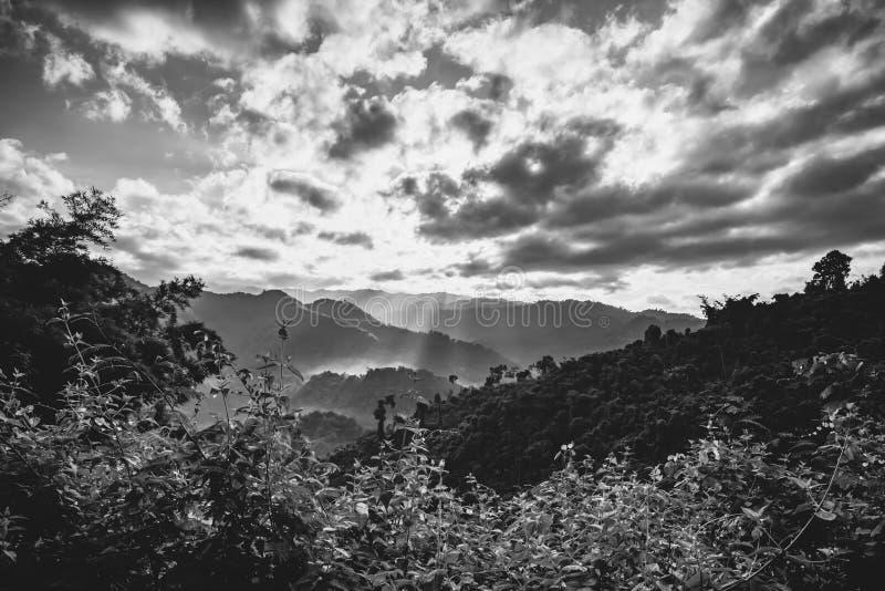 Le coucher du soleil dramatique rayonne par un ciel foncé nuageux au-dessus de beau naturel photographie stock libre de droits