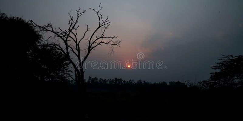 Le coucher du soleil - New Delhi Inde images stock