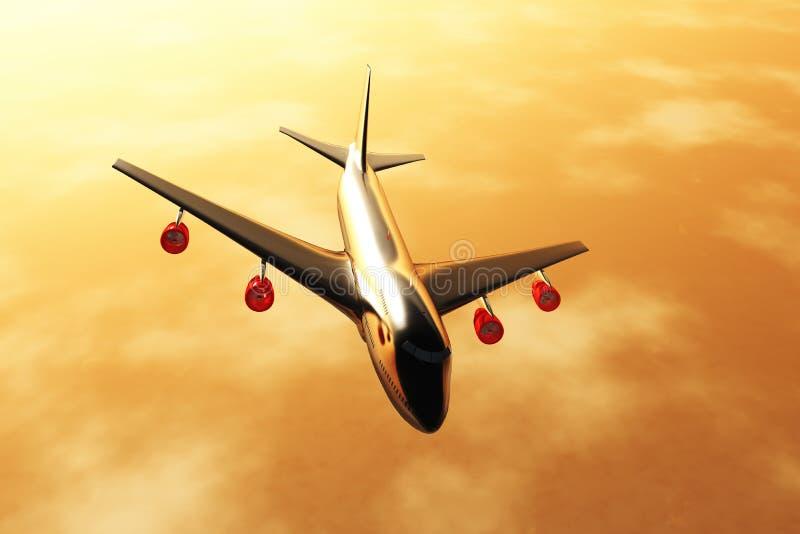 Le coucher du soleil /sunrise 3D de vol d'avion rendent 02 illustration stock