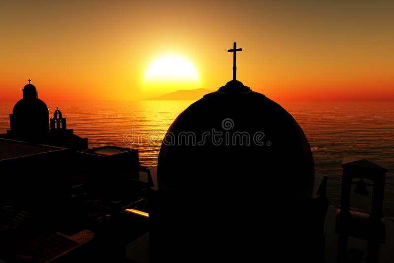 Le coucher du soleil /sunrise en Grèce 3D rendent 02 illustration stock
