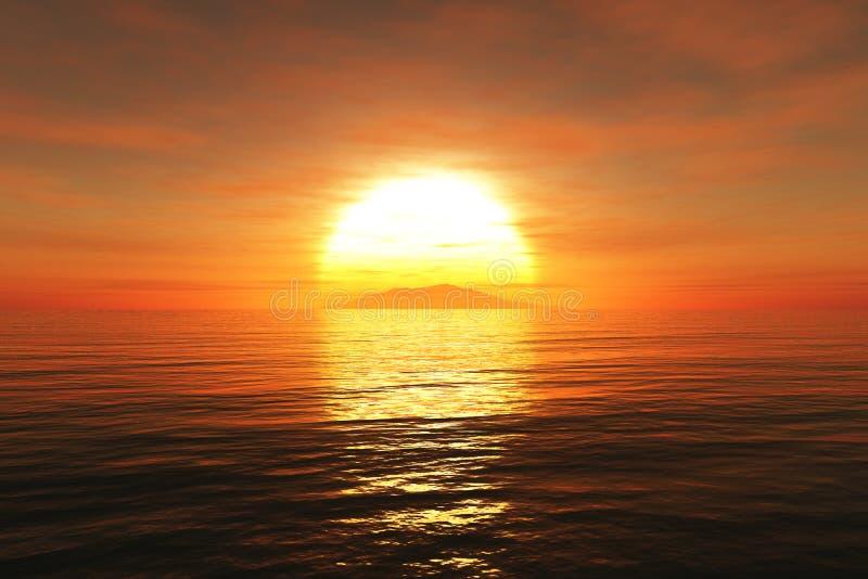 Le coucher du soleil /sunrise et la mer 3D rendent illustration stock