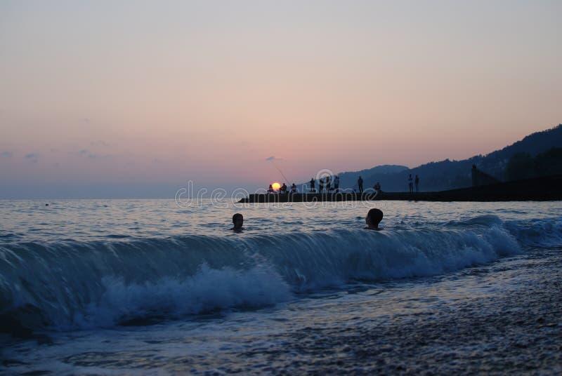 Le coucher du soleil voient l'été image libre de droits