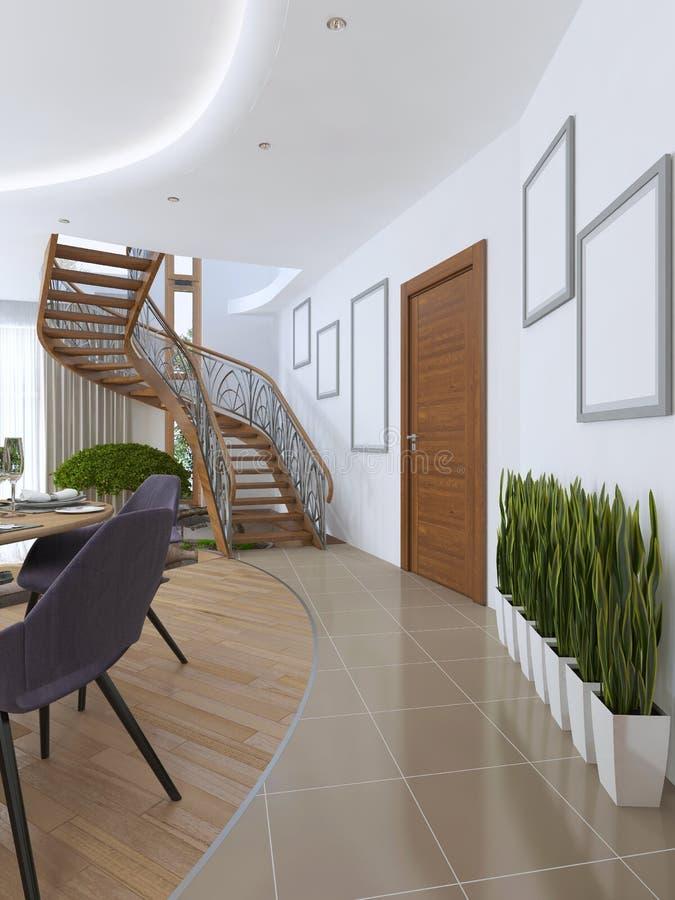 Le couloir menant à l'escalier en spirale au deuxième plancher illustration de vecteur