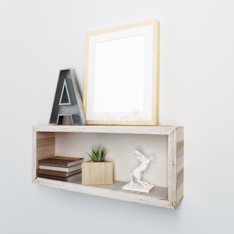 Le coup de cadre en bois sur le style industriel rayonnent photos libres de droits