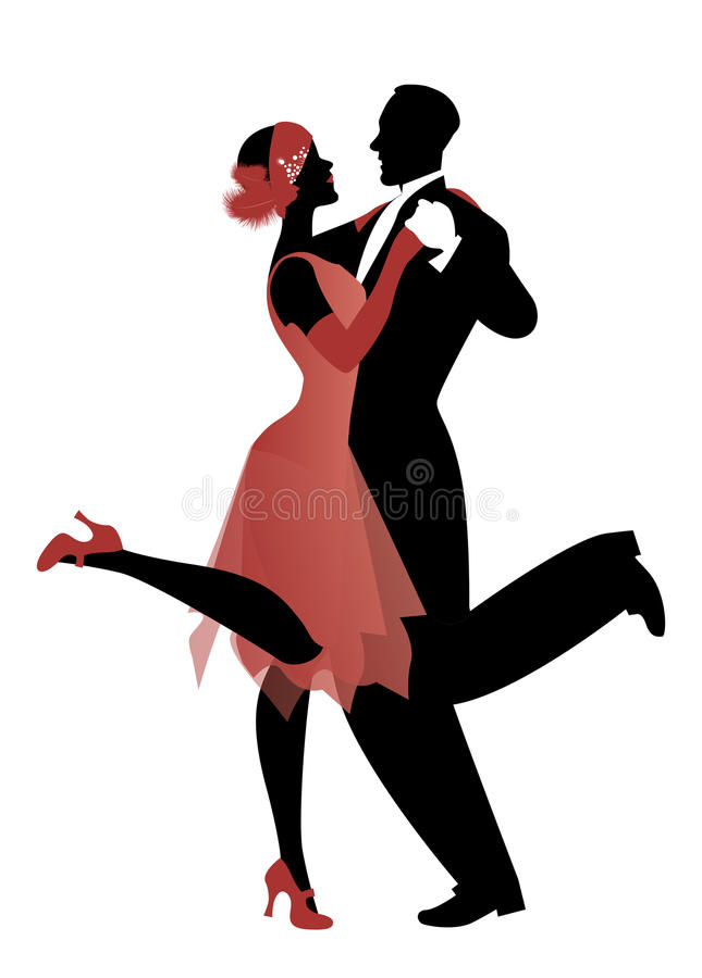 Le couple élégant portant le style de 20 ` s vêtx Charleston de danse illustration de vecteur