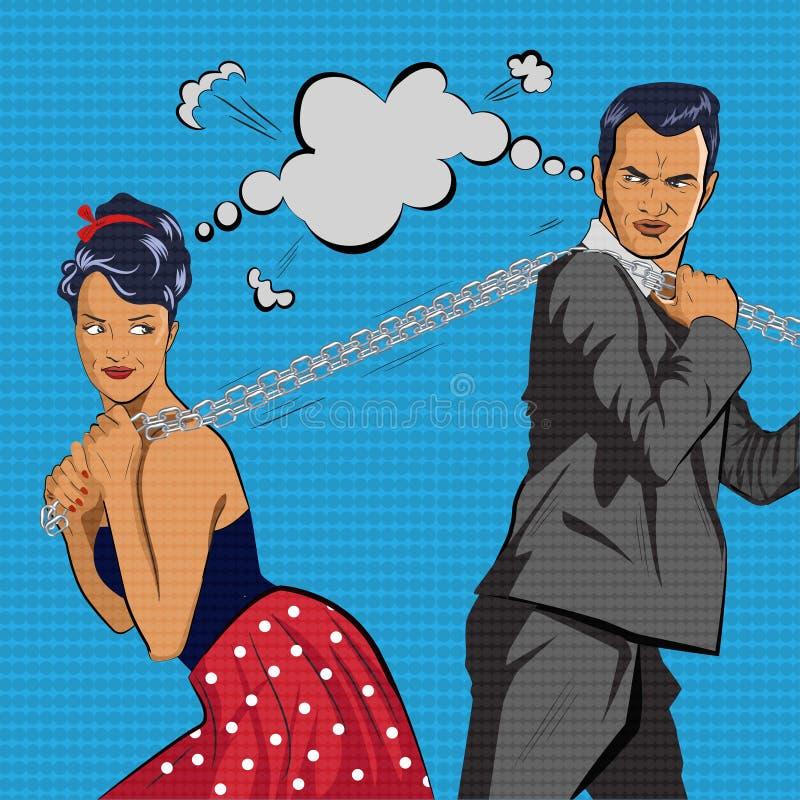 Le couple concurrence La chaîne de tractions d'homme et de femme Illustration de vecteur illustration de vecteur