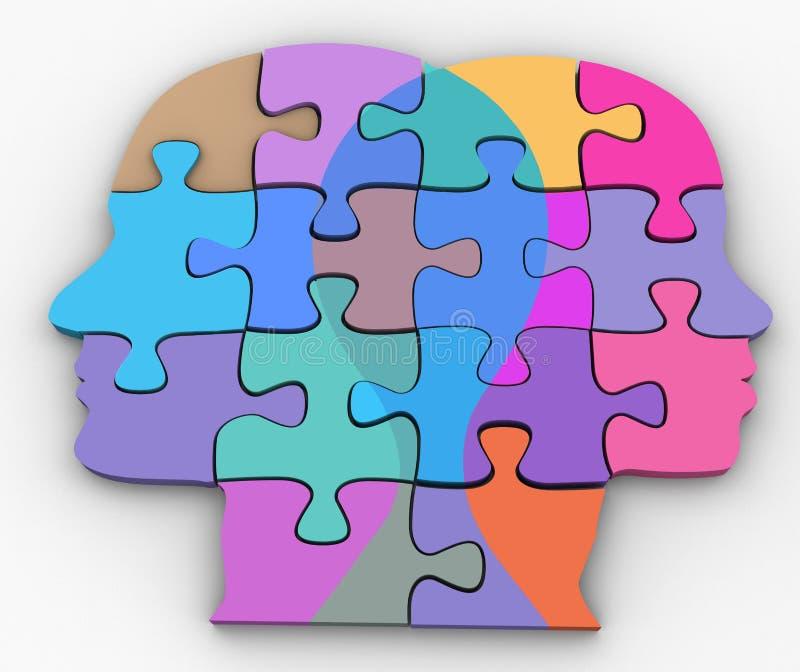 Le couple de femme d'homme fait face au puzzle de problème illustration stock