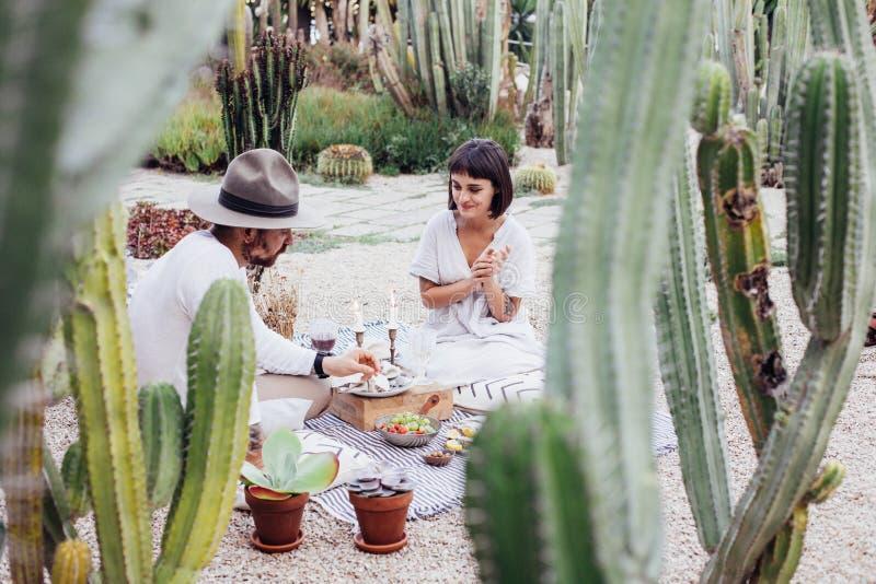 Le couple de hippie boit du vin sur le pique-nique photos stock