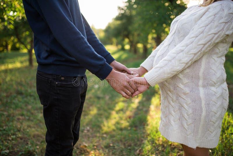 Le couple enceinte heureux tient des mains de l'un l'autre Famille enceinte tenant des mains image libre de droits