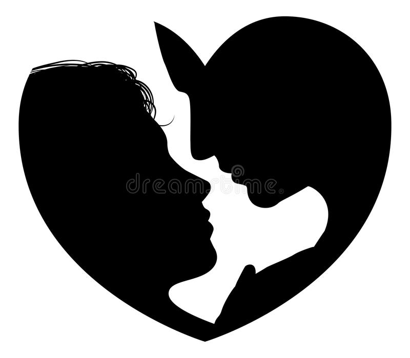 Le couple fait face à la silhouette de coeur illustration libre de droits