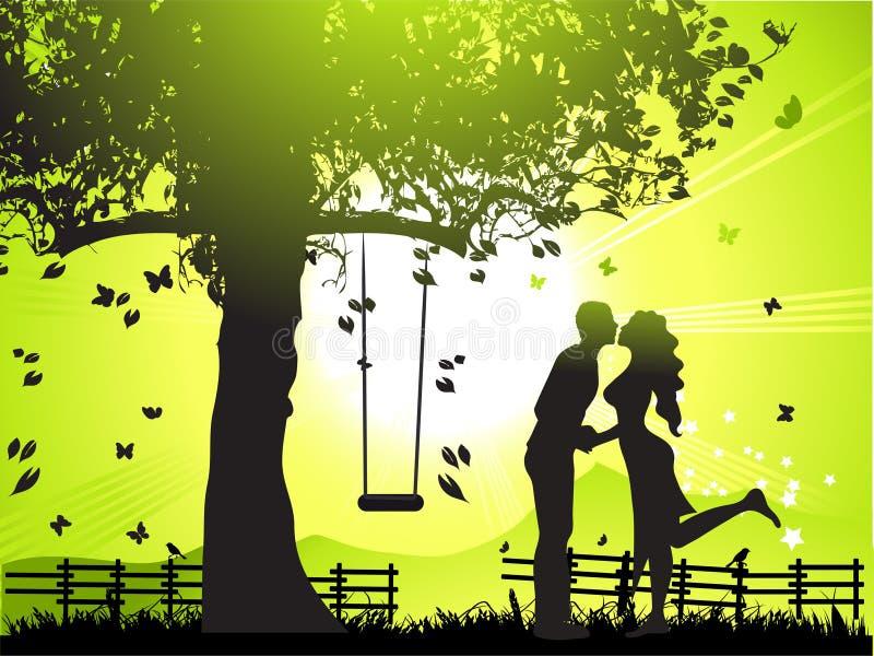 Le couple marche sur la nature, coucher du soleil illustration de vecteur