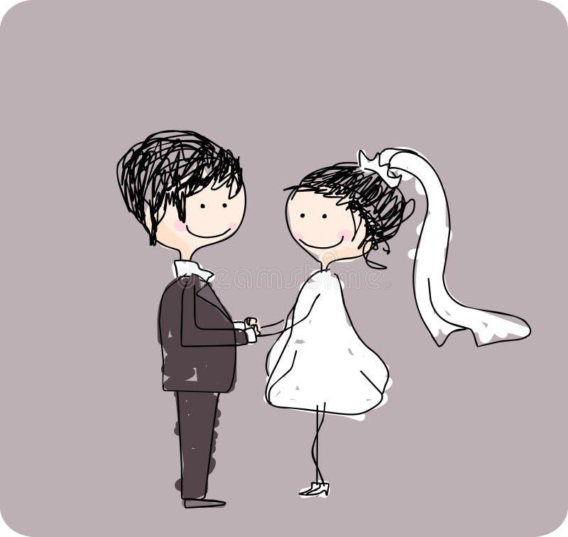 le couple remet le mariage de fixation illustration stock