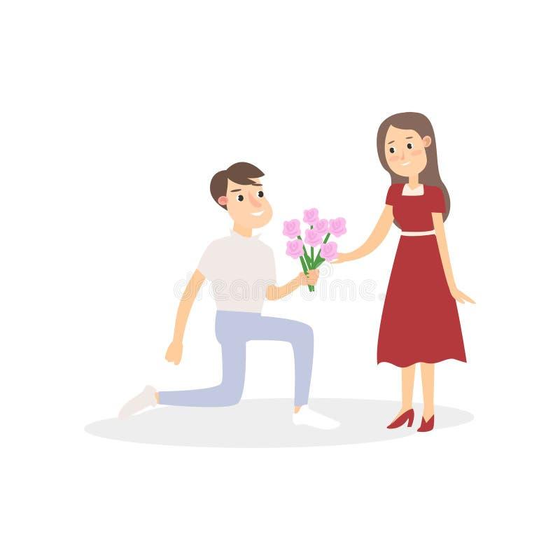 Le couple romantique de jeunes étudiants, garçon donne le bouquet de fleur illustration stock