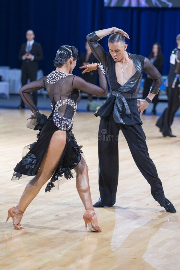 Le couple romantique expressif superbe de danse exécute le programme latino-américain de la jeunesse photos libres de droits